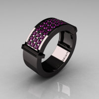 Gentlemens Modern 14K Black Gold 33 Stone Amethyst Ring MR184-14KBGAM-1