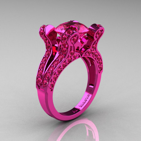 Satrina – French Vintage 14K Pink Gold 3.0 CT Pink Sapphire Pisces Wedding Ring Engagement Ring Y228-14KPGPS-1