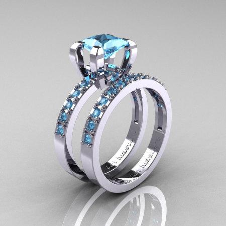 Modern French 14K White Gold 1.0 Carat Princess Blue Topaz Engagement Ring Weding Band Bridal Set AR125S-14KWGBT-1