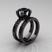 Modern French 14K Black Gold 1.0 Carat Princess Black Diamond Engagement Ring Weding Band Bridal Set AR125S-14KBGBD-1