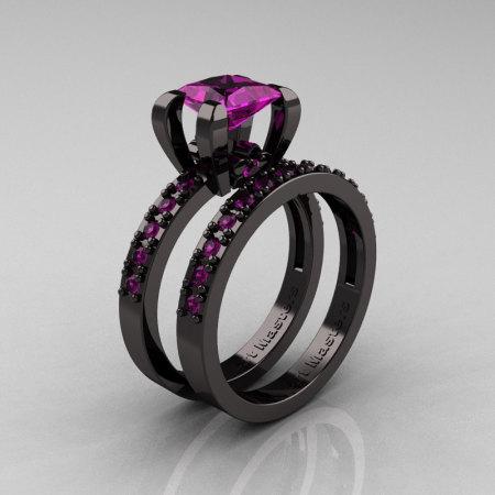 Modern French 14K Black Gold 1.0 Carat Princess Amethyst Engagement Ring Weding Band Bridal Set AR125S-14KBGAM-1