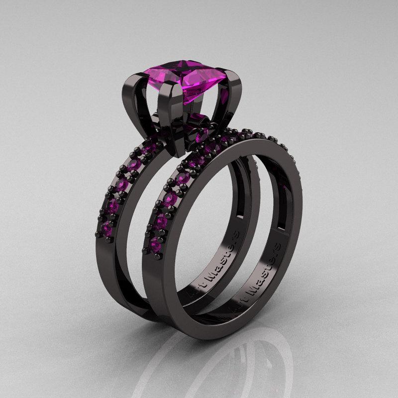modern french 14k black gold 10 carat princess amethyst engagement ring weding band bridal set ar125s - Amethyst Wedding Rings