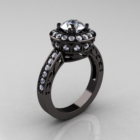 Classic 14K Black Gold 1.0 Carat White Sapphire Diamond Wedding Ring Engagement Ring R199-14KBGDWS-1