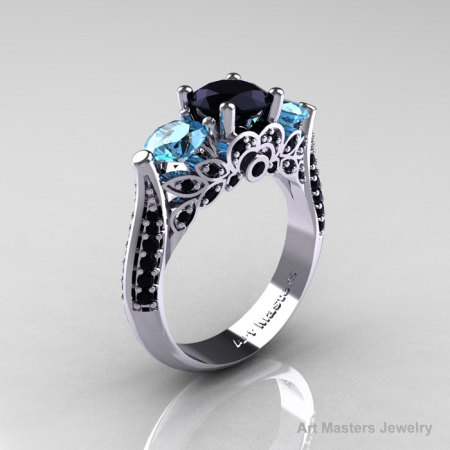 14K White Gold Three Stone Black Diamond Blue Topaz Solitaire Ring R200-14KWGBDBT-1