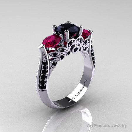 14K White Gold Three Stone Black Diamond Raspberry Red Garnet Solitaire Ring R200-14KWGBDRRG-1