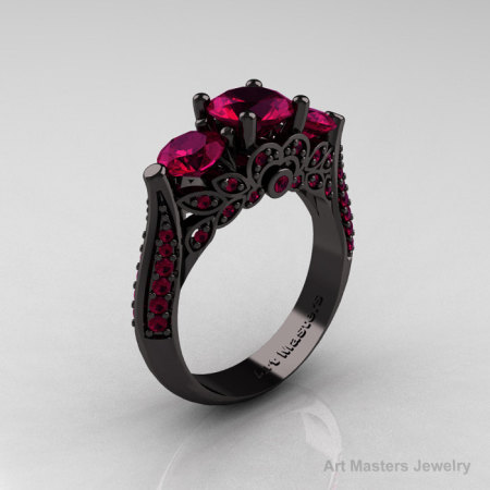 14K Black Gold Three Stone Black Diamond Raspberry Red Garnet Solitaire Ring R200-14KBGRRG-1