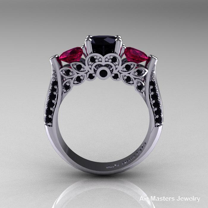 14k White Gold Three Stone Black Diamond Raspberry Red