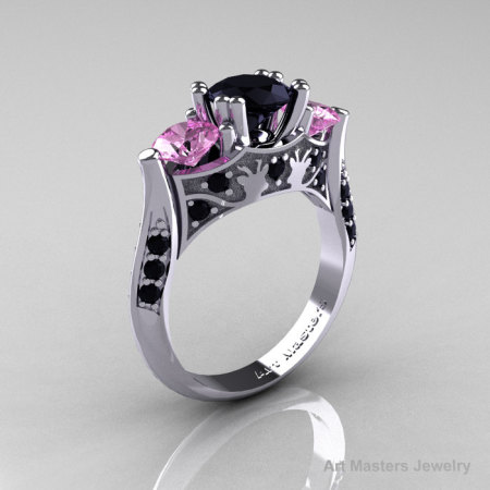Nature Inspired 14K White Gold Three Stone Black Diamond Light Pink Sapphire Solitaire Wedding Ring Y230-14KWGLPSBD-1