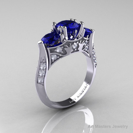 Nature Inspired 14K White Gold Three Stone Blue Sapphire Diamond Solitaire Wedding Ring Y230-14KWGDBS-1