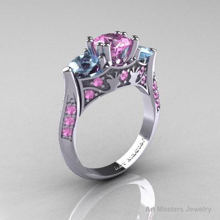 Nature Inspired 14K White Gold Three Stone Light Pink Sapphire Aquamarine Solitaire Wedding Ring Y230-14KWGAQLPS-1