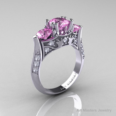 Nature Inspired 14K White Gold Three Stone Light Pink Sapphire Diamond Solitaire Wedding Ring Y230-14KWGDLPS-1