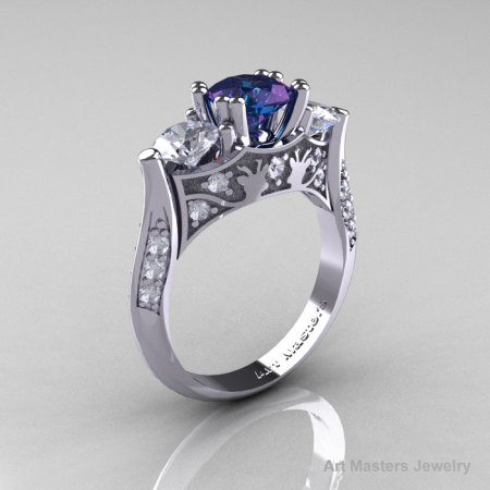 Nature Inspired 14K White Gold Three Stone Russian Chrisoberyl Alexandrite White Topaz Diamond Solitaire Wedding Ring Y230-14KWGDWTAL-1