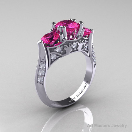 Nature Inspired 14K White Gold Three Stone Pink Sapphire Diamond Solitaire Wedding Ring Y230-14KWGDPS-1