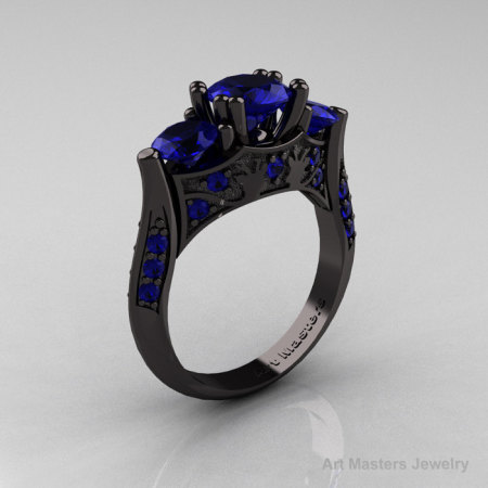 Nature Inspired 14K Black Gold Three Stone Blue Sapphire Solitaire Wedding Ring Y230-14KBGBS-1