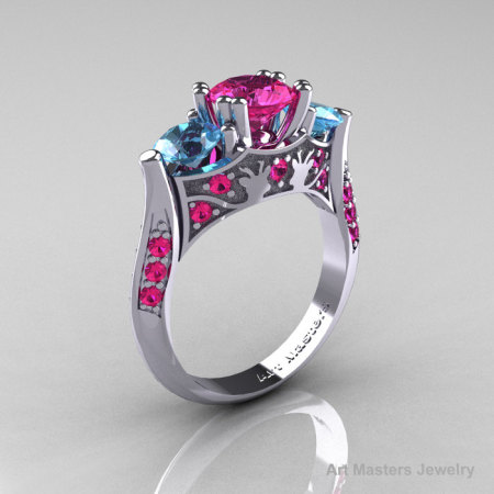 Nature Inspired 14K White Gold Three Stone Pink Sapphire Blue Topaz Solitaire Wedding Ring Y230-14KWGBTPS-1