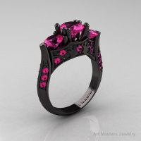 Nature Inspired 14K Black Gold Three Stone Pink Sapphire Solitaire Wedding Ring Y230-14KBGPS-1
