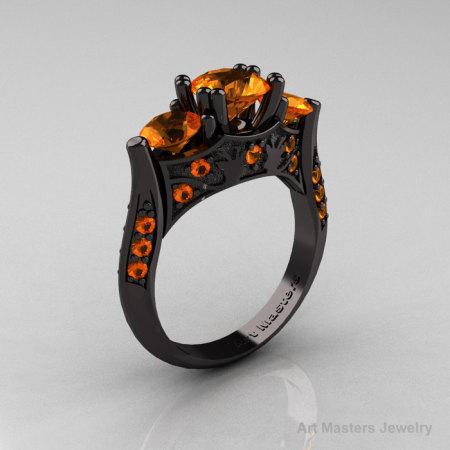 Nature Inspired 14K Black Gold Three Stone Orange Sapphire Solitaire Wedding Ring Y230-14KBGOS-1