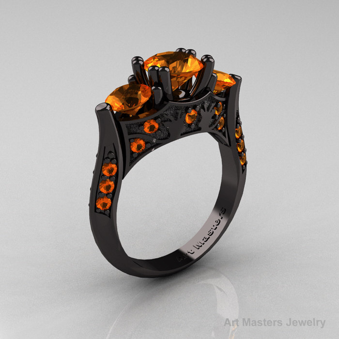 nature inspired 14k black gold three stone orange sapphire solitaire wedding ring y230 14kbgos - Nature Inspired Wedding Rings