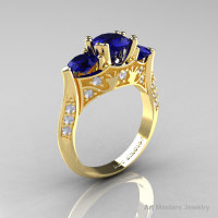 Nature Inspired 14K Yellow Gold Three Stone Blue Sapphire Diamond Solitaire Wedding Ring Y230-14KYGDBS-1