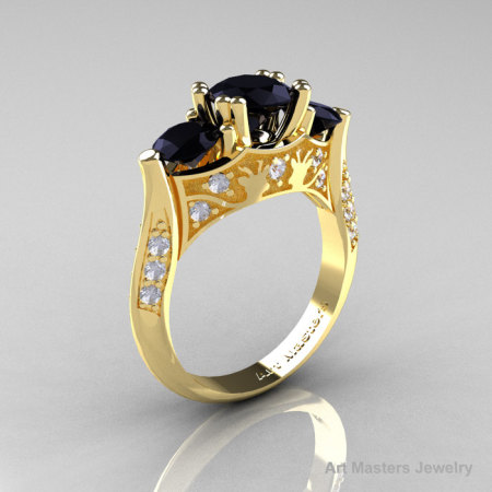 Nature Inspired 14K Yellow Gold Three Stone Black and White Diamond Solitaire Wedding Ring Y230-14KYGDBD-1