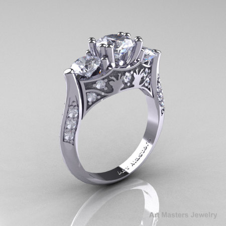 Nature Inspired 14K White Gold Three Stone White Topaz Diamond Solitaire Wedding Ring Y230-14KWGDWT-1