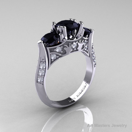 Nature Inspired 14K White Gold Three Stone Black and White Diamond Solitaire Wedding Ring Y230-14KWGDBD-1
