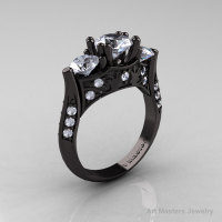 Nature Inspired 14K Black Gold Three Stone White Topaz Diamond Solitaire Wedding Ring Y230-14KBGDWT-1