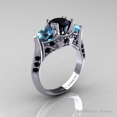 14K White Gold Three Stone Black Diamond Blue Topaz Solitaire Wedding Ring Y230-14KWGBTBD-1