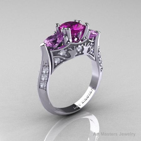 14K White Gold Three Stone Amethyst Diamond Solitaire Wedding Ring Y230-14KWGDAM-1