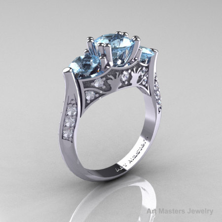 14K White Gold Three Stone Aquamarine Diamond Solitaire Wedding Ring Y230-14KWGDAQ-1