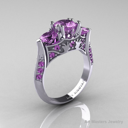14K White Gold Three Stone Lilac Amethyst Solitaire Wedding Ring Y230-14KWGLAM-1