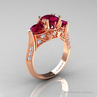 14K Rose Gold Three Stone Raspberry Red Garnet Diamond Solitaire Wedding Ring Y230-14KRGDRRG-1