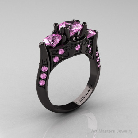 Nature Inspired 14K Black Gold Three Stone Light Pink Sapphire Solitaire Wedding Ring Y230-14KBGLPS-1
