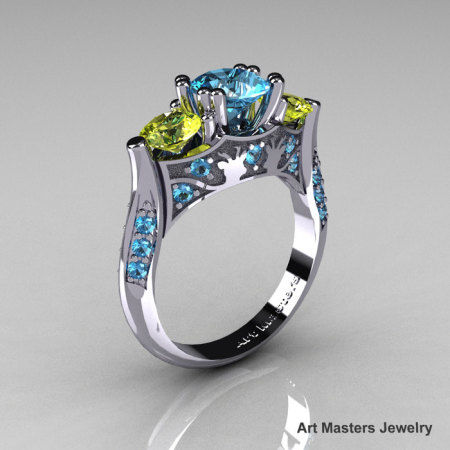 Nature Inspired 14K White Gold Three Stone Blue and Yellow Topaz Solitaire Wedding Ring Y230-14KWGYTBT-1