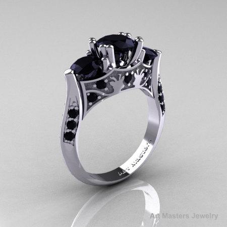 14K White Gold Three Stone Black Diamond Solitaire Wedding Ring Y230-14KWGBD-1