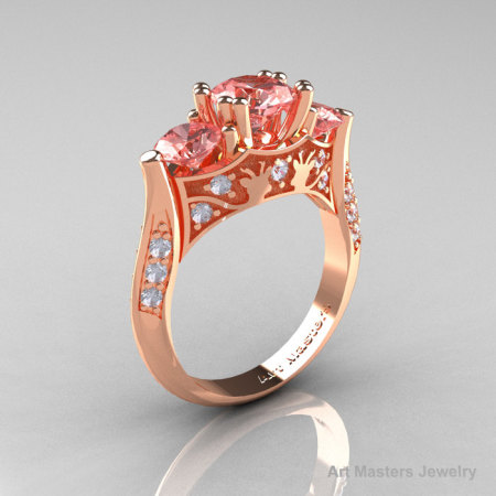 14K Rose Gold Three Stone Morganite Diamond Solitaire Wedding Ring Y230-14KRGDMO-1