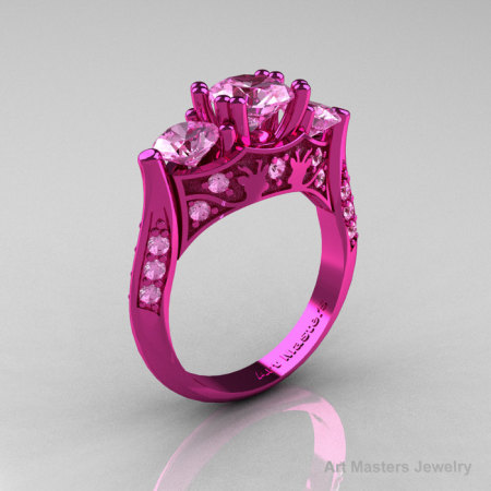 Nature Inspired 14K Pink Gold Three Stone Light Pink Sapphire Solitaire Wedding Ring Y230-14KPGLPS-1