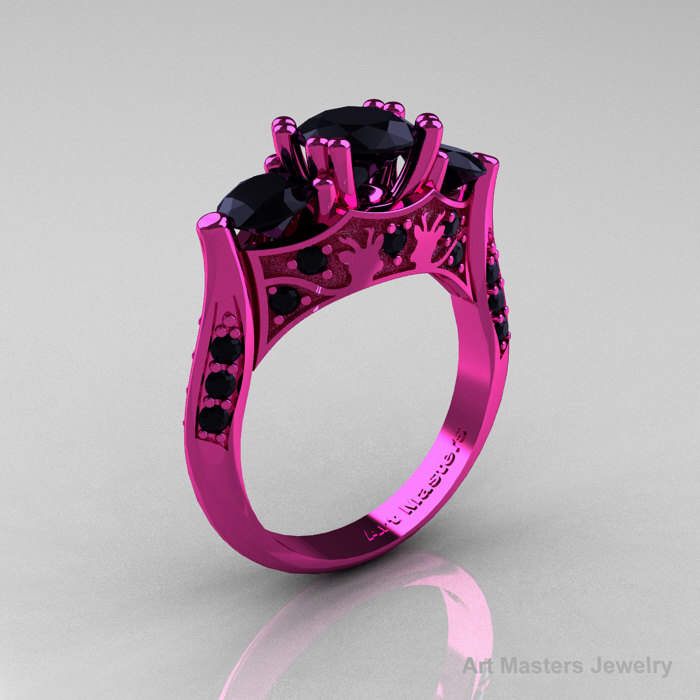 Black gold pink diamond ring