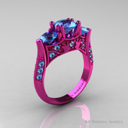 Nature Inspired 14K Pink Gold Three Stone Blue Topaz Solitaire Wedding Ring Y230-14KPGBT-1