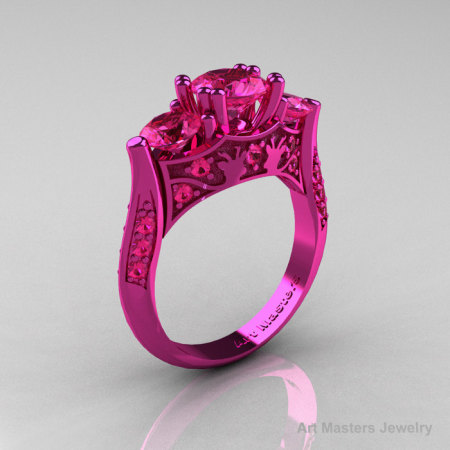 Nature Inspired 14K Pink Gold Three Stone Pink Sapphire Solitaire Wedding Ring Y230-14KPGPS-1