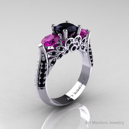 Classic 10K White Gold Three Stone Black Diamond Amethyst Solitaire Ring R200-10KWAMBD-1