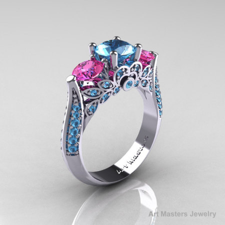 Classic 10K White Gold Three Stone Pink Sapphire Blue Topaz Solitaire Ring R200-10KWGPSBT-1