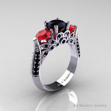 Classic 10K White Gold Three Stone Black Diamond Ruby Solitaire Ring R200-10KWGRBD-1
