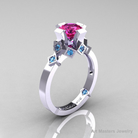 Modern Armenian Bridal 14K White Gold 1.0 Pink Sapphire Blue Topaz Solitaire Ring R240-14KWGBTPS-1