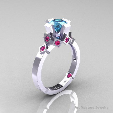Modern Armenian Bridal 10K White Gold 1.0 Blue Topaz Pink Sapphire Solitaire Ring R240-10KWGPSBT-1