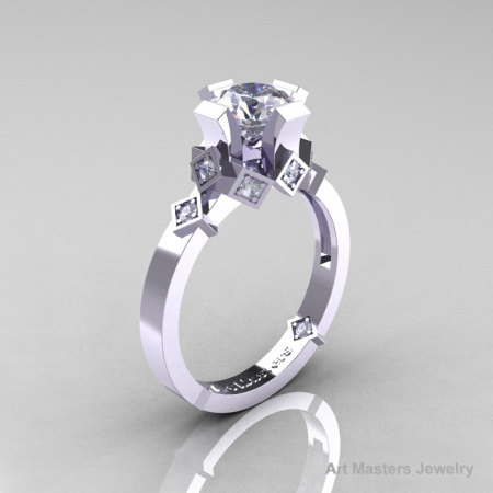 Modern Armenian Bridal 14K White Gold 1.0 Russian Cubic Zirconia Diamond Solitaire Ring R240-14KWGDCZ-1