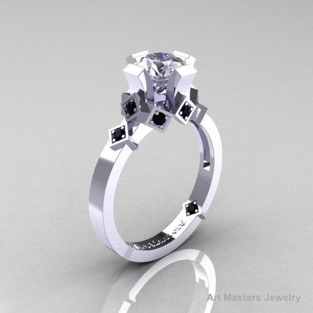 Modern Armenian Bridal 14K White Gold 1.0 Russian Cubic Zirconia Black Diamond Solitaire Ring R240-14KWGBDCZ-1