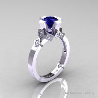 Modern Armenian Bridal 14K White Gold 1.0 Blue Sapphire Diamond Solitaire Ring R240-14KWGDBS-1