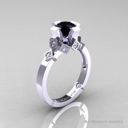Modern Bridal 14K White Gold 1.0 Black and White Diamond Solitaire Ring R240-14KWGDBD-1
