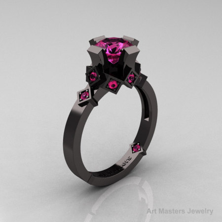 Modern Bridal 14K Black Gold 1.0 Pink Sapphire Solitaire Ring R240-14KBGPS-1